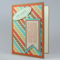 Sending Good Thoughts Handmade Card With Retro Inspired Colors | cardsbylibe - Cards on ArtFire