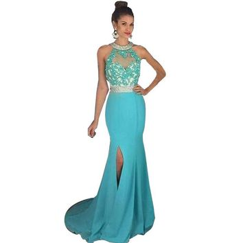 Lorie Turquoise Mermaid Prom dresses 2017 Long High Neck Appliqued Beading Chiffon  Evening Dress Party Gown vestido de festa