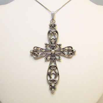 Danecraft Sterling Cross Necklace Large Cross Open Work Metal Religious Jewelry