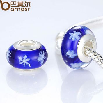 Exquisite Silver Color Snowflake Dark Blue Murano Glass Beads Fit Bracelet & Necklace Jewelry Making PA6319