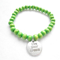 Green Mens Beaded Bracelet - Live Your Dream Bracelets - Mens Wooden Beaded Jewelry - Gift For Boyfriend - Graduation Gifts
