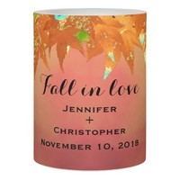 Romantic Red Golden Maple Fall In Love Wedding Flameless Candle