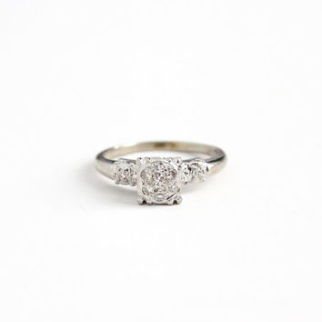 Vintage 14k White Gold .22 CTW Diamond Cluster Ring - Size 7 1940s Late Art Deco Fine Flower Floral Halo Engagement Bridal Jewelry