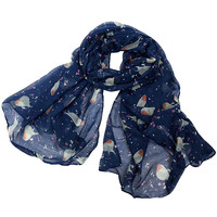 Navy Blue Bird Print Scarf Shawl Cape
