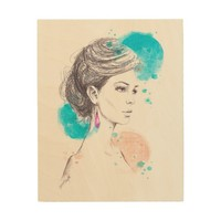 Woman with earring fashion illustration sketch wood wall decor
