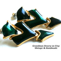 Vintage Triangle Earrings,  Black and Green Dangle Posts, Asymmetric Geometric Earrings