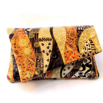 clutch purse formal evening bag brown tan cream gold by Patchtique