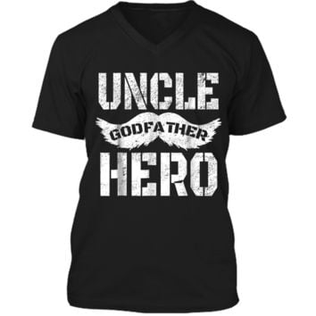 Uncle Godfather Hero  Great Gift for the family Mens Printed V-Neck T