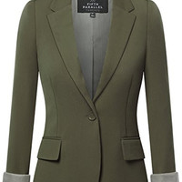 Womens Boyfriend Blazer, Army Green