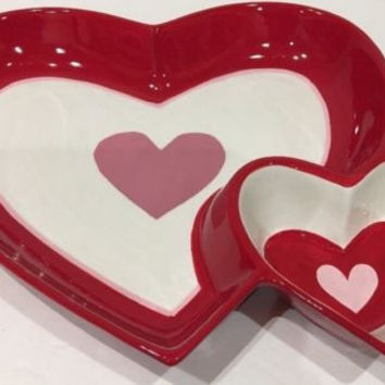 Heart Shaped Chip 'n Dip Serving Dish Bowl Hand Painted Ceramic White Pink & Red