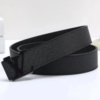 Louis Vuitton { LV } Woman Men Fashion Smooth Buckle Belt Leather Belt-3
