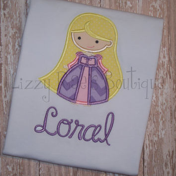 Rapunzel applique shirt- Princess applique shirt- Cutie applique shirt-