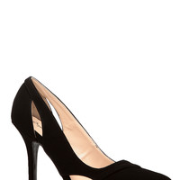 Black Faux Nubuck Pointed Cut Out Heels