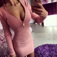 Pink Zip-Front Knit Dress