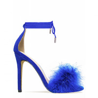 Tamaya Blue Suede Fluffy Lace Up Heels : Simmi Shoes