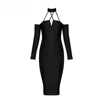 Black Caged Choker Long Sleeve Bandage Dress