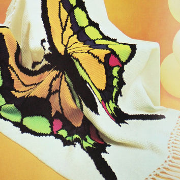 Butterfly Baby Blanket Knitting Pattern : Shop Knitted Afghan Patterns on Wanelo