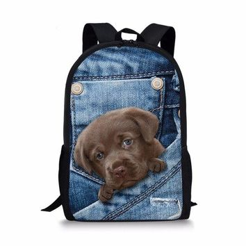University College Backpack  women bags 3D Animal Print Cat Dog  Student School  Shoulder Bags  kanken mochilas mujer #75AT_63_4