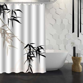 Custom Bamboo Shower Curtain Waterproof Fabric Bath Curtain for Bathroom WJY1.17