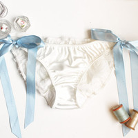 Bridal Side-Tie Panties 'Something Blue' Ivory satin and Chiffon Rosettes Made to Order