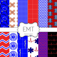 Instant Download- EMT Emergency Medical Technician Paramedic Rescue Emergency Digital Scrapbooking Paper Pack Personal and Commercial Use