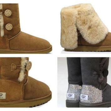 DCCK8X2 Custom UGG Boots made with Swarovski Bailey Button Triplet Free: Shipping, Repair Kit,