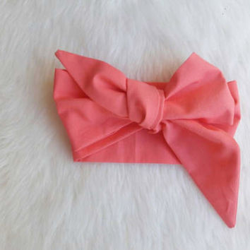 Baby Headwrap - Girl Headband - Coral - Hair Accessory -  Solid Headwrap -photo prop - Head Accessory - Baby Girl - Toddler Girl -Photo Prop