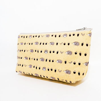 Hedgehog Pouch, Zipper Pouch, Cosmetic Bag, Pencil Case, Pouch, Fabric Pouch, Cute Pouch, Toiletry Bag, Brown Hedgehogs and Acorns on Gold