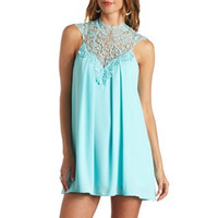 LACE MOCK NECK HALTER SHIFT DRESS