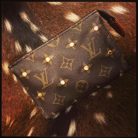 Authentic Louis Vuitton Brass Studded Cosmetic Pouch