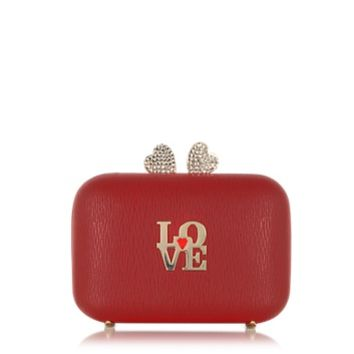 Moschino Designer Handbags Love Moschino Red Eco Leather Clutch w/Chain Strap