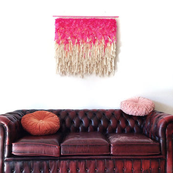 Furry Electric Wonderful Cherry Fields //  Handwoven Tapestry Headboard Wall hanging Weaving Fiber Textile Wall Art Woven Jujujust