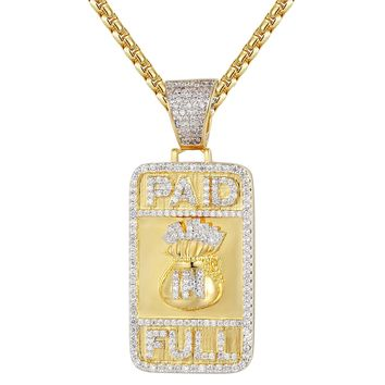 Iced Out Paid in Full Dollar Bag Dog Tag Pendant