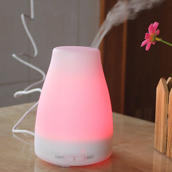 Apano 120ML Mini Ultrasonic Aroma Diffuser Essential Oil Aromatherapy Humidifier 7 Changing LED Light 2 Mist Mode Dry Protection