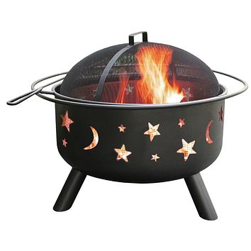 Stars Moon Sky Black Steel Fire Pit Bowl with Screen Cooking Grate & Poker