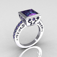 AMAZING PURPLE PRINCESS STUD 925 STERLING SILVER ENGAGEMENT AND WEDDING RING
