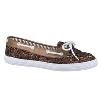 Rock Glitter Boat Shoe - Brown/Beige