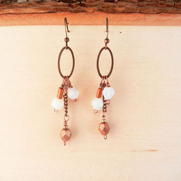 Copper dangle earrings - opalite stone, copper and glass earrings.