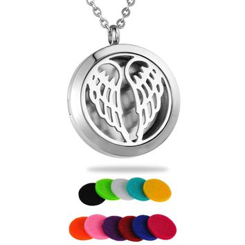 Angel Wings Locket Aromatherapy Diffuser Pendant Necklace Jewelry