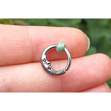 Moon Silver Daith Hoop Ring Rook Hoop Cartilage Helix Tragus