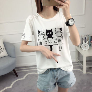 Cartoon Cat Print Kawaii T-Shirt Harajuku Fashion