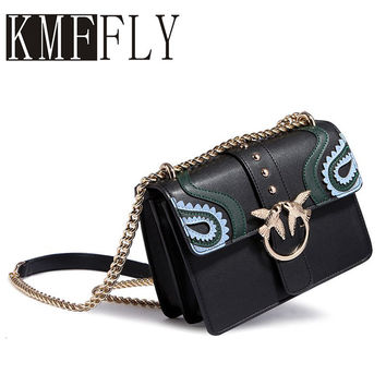 KMFFLY New Women Leather Handbags Graffiti Chain Messenger Packet Mini One Shoulder Buckle Small Square Package Gift sac a main