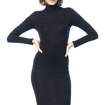 Turtleneck Basic Midi Dress