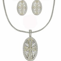 Crystal & CZ Silver Plated Designer Style Two Tone Cubic Zirconia Oval Cross Necklace & Earrings by Jersey Bling ships in Gift Box