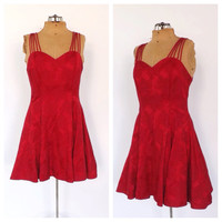 Vintage 1980s 90s Rose Red Strappy Holiday Party Dress Cocktail Mini Short Cupcake Prom Dress Floral Damask Sweetheart Neckline Full Skirt