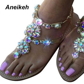 Aneikeh 2017 Woman Sandals Women Shoes Rhinestones Chains Diamond Beaded Pinch Flat Bohemia Sandals Female Large Size 41 42 NEW