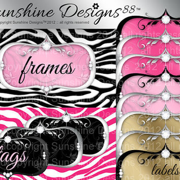 Digital Frame Label Download Zebra Background Scrapbook Kit