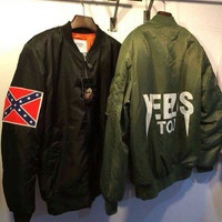 KANYE WEST YEEZUS tour MA1 pilot jackets limit edition black green colors yeezy flight parkas MERCH BOMBER MA-1 NAVY RED CROSS