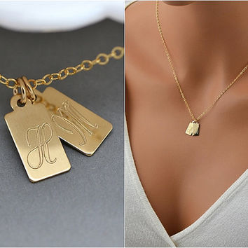 Personalized Tag Necklace, Initial Small Tag, Multiple Tag Necklace, Gold, Silver, Rose Gold Tag Necklace