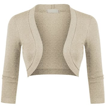 LE3NO Womens Fitted 3/4 Sleeve Open Front Cropped Bolero Cardigan